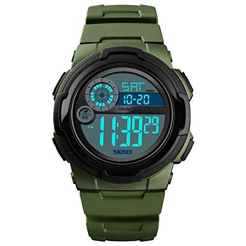 LUCHAO Männer Digitaluhr Dual Time Date Week Stoppuhr EL Light Waterproof Sport Armbanduhr (Farbe : ArmyGreen)