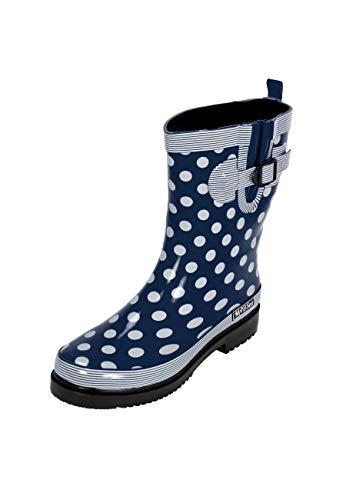 MADSea Stivali di Gomma Stivali da Pioggia Donna Blu Scuro Pois Bianco Altezza Media, Dimensioni:37 EU