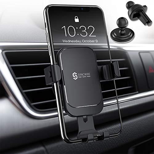Syncwire Verbesserte Handyhalterung Auto – Schwerkraft Kfz Handyhalter, Auto-Lock 360°-Rotation Lüftungsschlitz-Befestigung für iPhone 11 Pro Max Xs Max Xr X 8 7 6, Samsung HTC Sony Huawei OnePlus