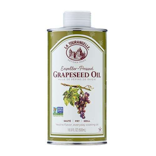 La Tourangelle Expeller-Pressed Grapeseed High Heat Neutral Cooking Oil, Cast Iron Seasoning, Also Great for Skin, Hair, and DIY Beauty Recipes, Green, 16.9 Fl Oz