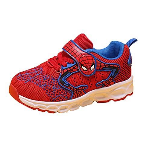 Xyh723 Spiderman Sneakers Enfants Running Chaussures De Sport Garçons Mode en Plein Air Entraîneurs Tennis Football Chaussures Anniversaire Thanksgiving Day Cadeau,Red-30 18.9CM