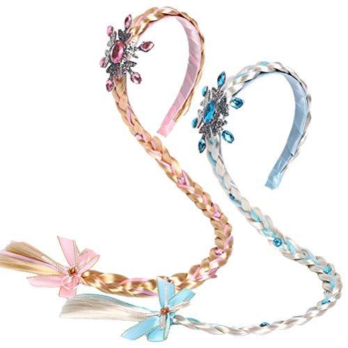 StyleBest Children's Crown Princess Headbands Snowflake Hairbands with Wig Braids for Lovely Girls Kids Hair Accessories