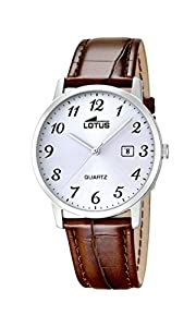 Lotus 18239/2 - Reloj analógico para caballero con pantalla plateada y correa de piel marrón, mecanismo de cuarzo