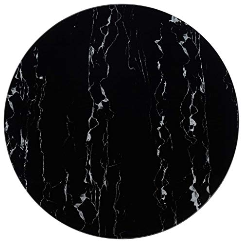 Festnight Tablero para Mesa Vidrio con Textura de Mármol Superficie de Mesa Redonda Tablero de Mesa Negro Ø90 cm