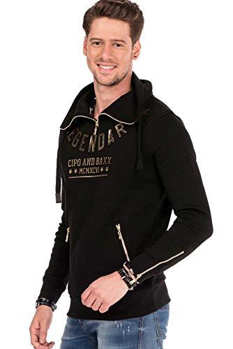 Cipo & Baxx Herren Sweatshirt Pullover Langarmshirt Sweater Zipperkragen 3D-Schriftzüge Schwarz XL