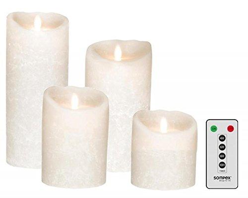 sompex Lot de 4 bougies LED en cire véritable Blanc givré 10/12,5/18/23 cm Avec télécommande
