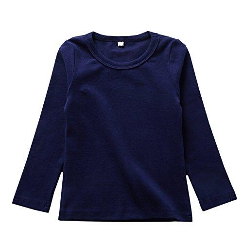 リリィ クプラウ 長袖Tシャツ ラウンドネック 無地 キッズ 100 ネイビー