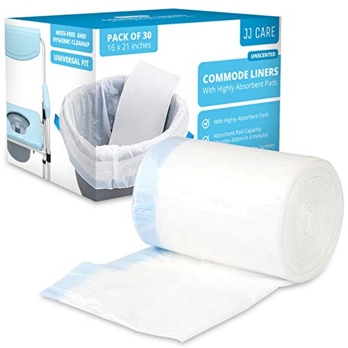 JJ CARE Commode Liners with Absorbent Pad, Portable Toilet Bags [Pack of 30] Bedside Commode Liners Disposable, Potty Chair Liners, Commode Bucket Liners