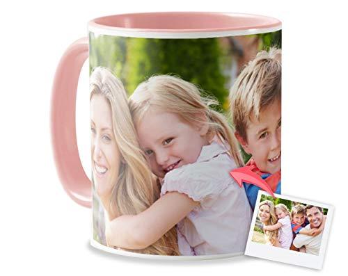 Tazas Personalizadas con el Interior y asa de Color | Diséñalas con Fotos y Texto | Tazas Color: Rosa