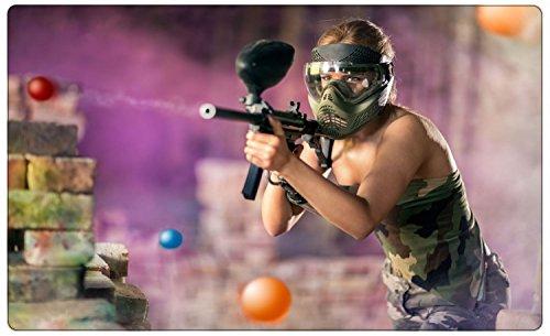 Frau Paintball Waffe Wandtattoo Wandsticker Wandaufkleber R1279 Größe 100 cm x 150 cm