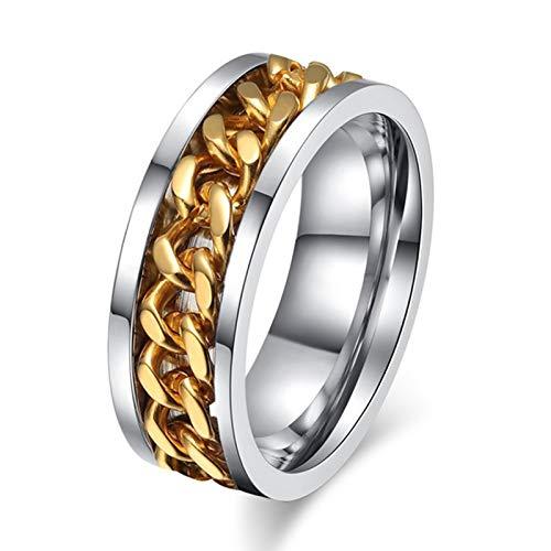 DXH Ringe der Männer, New Gold-Silber-Farbe Edelstahl Drehbare Punkweinlese-Ring für Männer Qualitäts-Spinner-Ketten-Ring Schmuck Waiters Korkenzieher,H,7