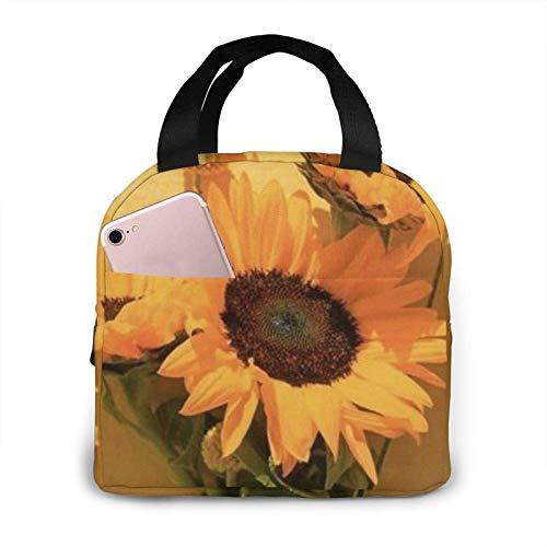 Bolsa de almuerzo Bolsa de almuerzo con aislamiento de flor amarilla Bolsa de almuerzo reutilizable Caja de almuerzo