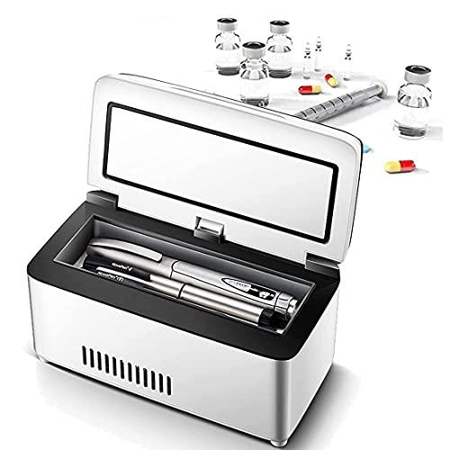 XYEJL Insulina Cooler Drug Reefer, Refrigerador Portátil De Medicamentos Pantalla Led 2-8 ℃, para Refrigeración De Interferón, Insulina Y Otros Medicamentos,3*Battery