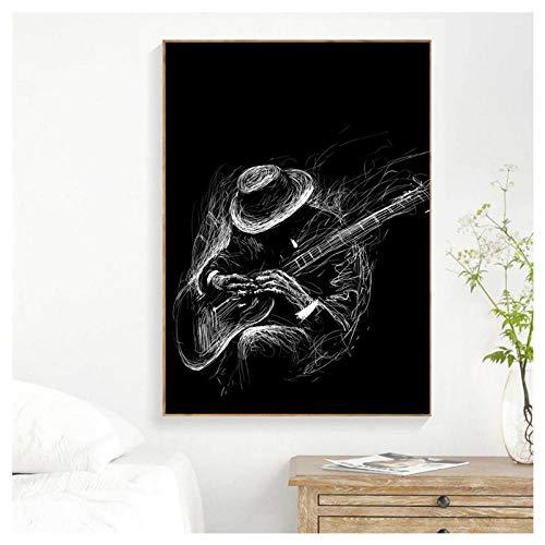 Preisvergleich Produktbild Wwjwf Rockgitarrist Vintage Poster Und Drucke Wandkunst Leinwand Malerei Wandbilder Für Kabarett Ktv Karaoke Bar Dekor-60X80Cm-Kein Rahmen