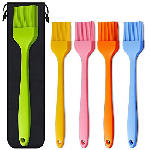 """Silicone Basting Brush 5 Pack Pastry Brushes, Spread Oil Butter Sauce Marinades for BBQ Grill Baking Kitchen Cooking, Baste Pastries Cakes Meat Sausages Desserts, FDA Approved, 10.2"""" and 8.2"""""""