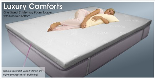 Silver Rest Sleep Shop Aerated 3-Inch Memory Foam Topper with Non Skid Bottom and Elastic Securing Straps, Twin