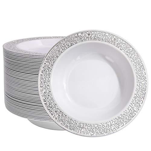 60 Plastic Soup Bowls 12 oz, Silver Disposable Bowls, Lace Trim Dessert Salad Bowls for Wedding/Party
