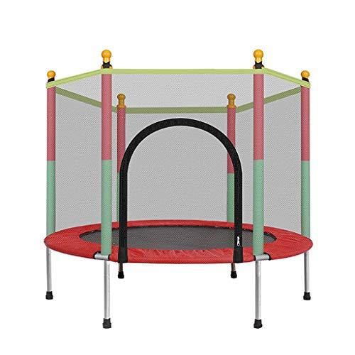 Trampolines de interior Cama elástica para niños en el trampolín Cama de Salto Cama elástica para niños con Red de protección. (Color : Red, Size : 140 * 140 * 122CM)
