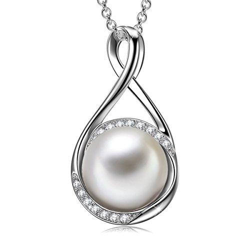 J.RENEÉ Collares Mujer, Plata de Ley 925, Collar Perla de Swarovski, Joyas para Mujer, Colgantes Mujer, Regalos Mujer