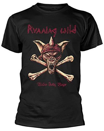Running Wild Under Jolly Roger - Camiseta de manga corta con cuello redondo para hombre, Negro, XXL