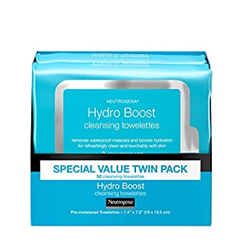 Neutrogena Facial Cleansing Makeup Remover Wipes with Hyaluronic Acid Hydrating PreMoistened Face Towelettes to Cleanse Remove Dirt Makeup Impurities Twin Pack 25 ct Hydroboost 50 Count