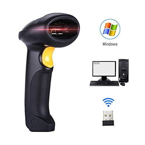 GONGJU Lecteur de Code à Barres sans Fil Lecteur de Code à Barres 2.4G 10m Laser Scanner de Code à Barres câblé pour Windows CE 1800mAH Portable