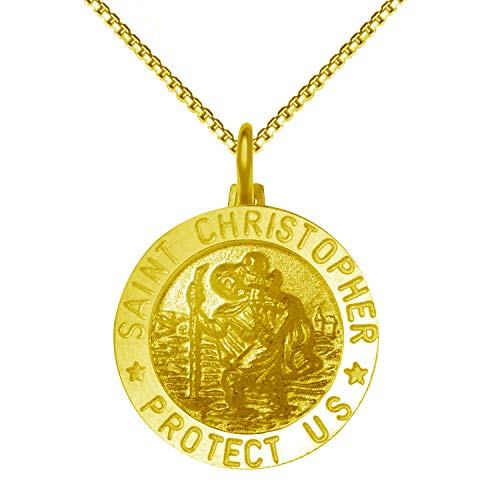 JewelExclusive 18K Gold Over Sterling Silver Saint Christopher Medal Pendant 18' Necklace