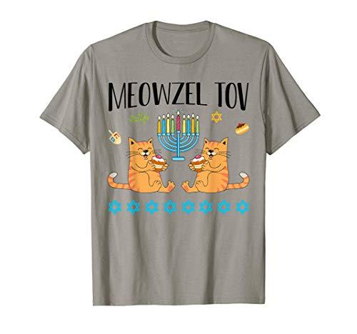 Meowzel Tov Menorah Cat Hanukkah Chanukah Jewish Funny Gift T-Shirt