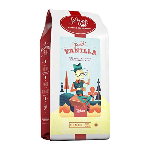 Joffrey's Coffee & Tea Company French Vanilla, Flavored Coffee, Artisan Medium Roast, Arabica Coffee Beans, Vanilla Custard & Caramel Flavor, Gluten-Free, No Sugar (Ground, 16 oz)