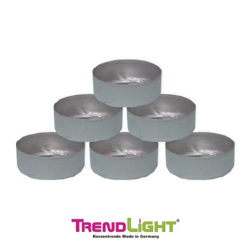 TrendLight Teelichthüllen Maxi 50 Stück leer Hüllen Alu 58x22 cm mm Silber zum Teelichter selbst gießen