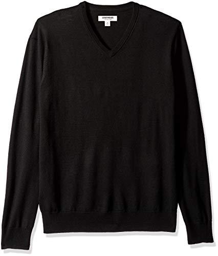 Marchio Amazon — Goodthreads, maglione da uomo in lana merino, con scollo a V, Nero (black), Medium