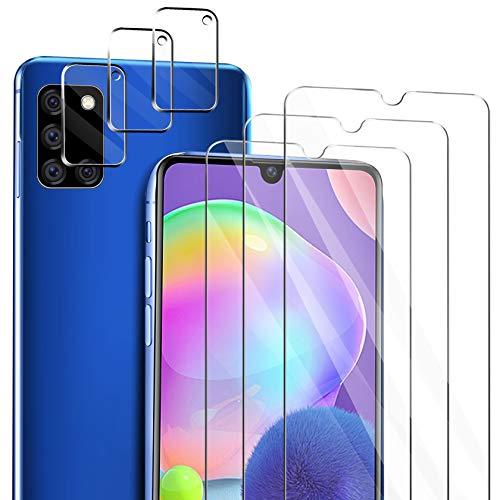 ivencase für Samsung Galaxy A31 Panzerglas Schutzfolie [3 Stücke] + Samsung Galaxy A31 Kamera Panzerglas [3 Stücke], Blasenfrei Anti-Staub Anti-Öl Bildschirmfolie