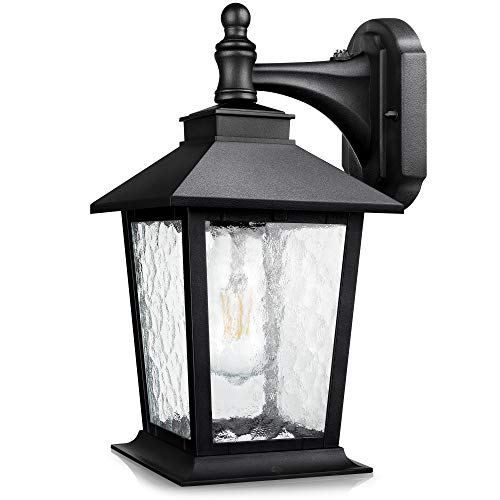 WENFENG Dusk to Dawn Outdoor Light Fixtures Wall Mount, Anti-Rust Matte Black Outside Lights with Sensor, Water Ripple Glass Lantern Shade, House Garage Exterior Porch Lights