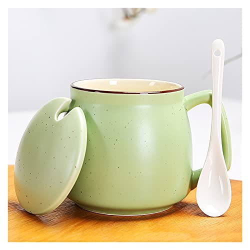 XDQ Taza de cerámica Taza de cerámica con Cuchara de Tapa, Taza de Lujo de Estilo Europeo, Taza de Bebida de Pareja de Tendencia, Taza de café, Taza de Leche, cadmio sin Plomo 400ml (Color : Green)