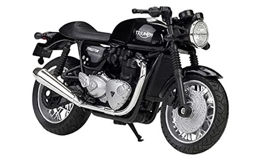 YBAO Thruxton 1200 Motorcycle 1:18 Motocicleta Modelo Juguetes, Modelo De Decoración De Pastel De Aleación, Mini Colección De Niños Regalos,Negro