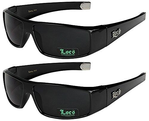2er Locs Herren Damen Männer Frauen Unisex Sonnenbrillen Motorradbrille Motorradsonnenbrille Sportbrille Radbrille - 1x Locs 9035 schwarz und 1x Locs 9035 schwarz - Modell 05 + 05 -