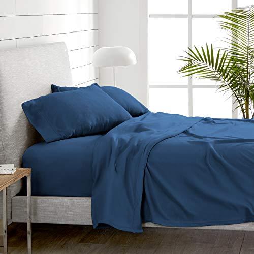 Bare Home Super Soft Fleece Sheet Set - King Size - Extra Plush Polar Fleece, Pill-Resistant Bed Sheets - All Season Cozy Warmth, Breathable & Hypoallergenic (King, Dark Blue)
