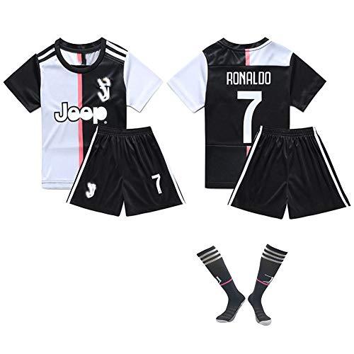 CHSC # 7 Ronaldo Fußballuniform Trikot CR7 Trikotset Jersey,Outfit Kinder Kurzarm Shorts Socken Trainingsbekleidung Wettbewerb Fan-Ausgabenweste 1 Set black-24
