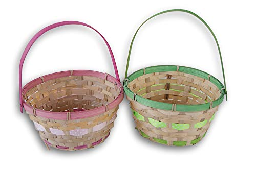 Colorful Round Easter Baskets - Pink and Green