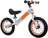 Bicicleta de equilibrio de 12 pulgadas sin pedal de equilibrio de la bici del entrenamiento del bebé scooter ajustable manillar y asiento, opción de regalo de cumpleaños de los niños - naranja