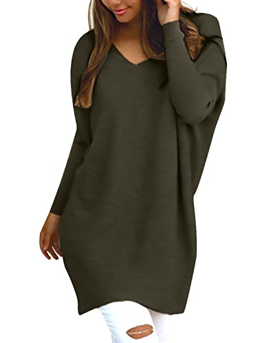 Style Dome Pullover Damen Casual Langarmshirt Bluse V-Ausschnitt Loose Langarm Tunika Oberteil Armeegrün-F723402 XL