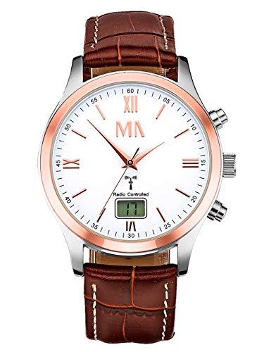 Meister Anker Herren Funkuhr – Armbanduhr mit Analog- und Digital-Anzeige, Metall-Uhr mit Leder-Armband und wasserdichtem Gehäuse, in Bicolor