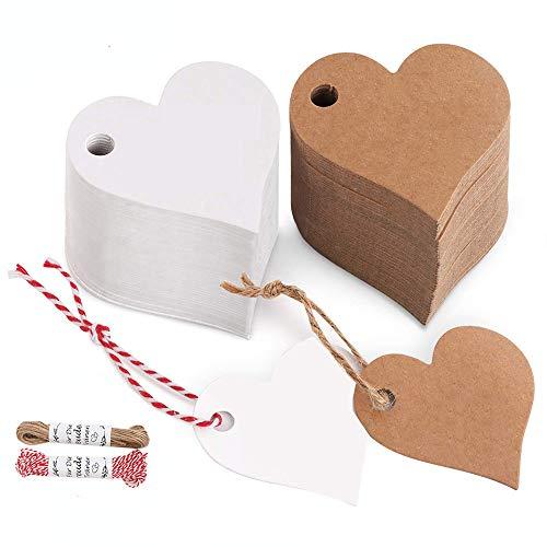200 piezas de etiquetas de regalo, corazones blancos y etiquetas de deseo en blanco de piel de vaca, cada 100 piezas. Adecuado para etiquetas de regalo, etiquetas de deseo, etiquetas de precio