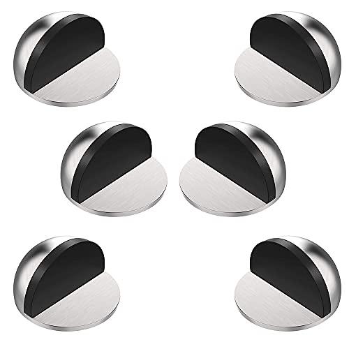 IWILCS 6 Piezas Tope de Puerta Magnético para Suelo Topes de Acero Inoxidable Topes para Puertas Adhesivos para Protección de Pared Muebles, Todos Los Suelos Duros