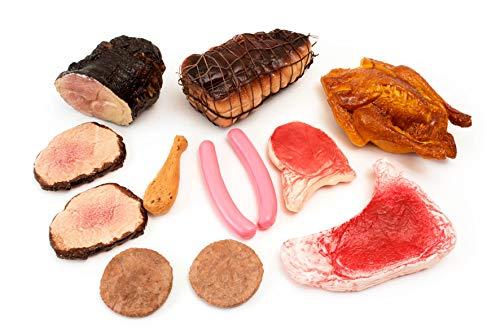 ERRO 12er Set Fleisch Kunststoff Attrappen - 41073 - Auslagengestaltung Metzgerei, Hohlattrappen zur Deko, Fleischattrappen für den Kaufladen, Replica Food