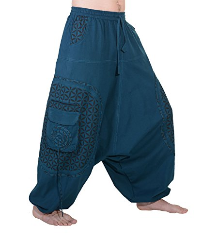 KUNST UND MAGIE Trendige Haremshose Bunte Muster Goa Hippie Hose, Größe:L/XL, Farbe:Petrol