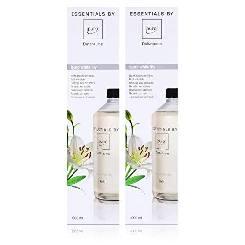 Essentails by Ipuro white lily Refill 1000ml Nachfüllflasche - Der reine Duft der weißen Blüte – ein blumig zartes Dufterlebnis (2er Pack)
