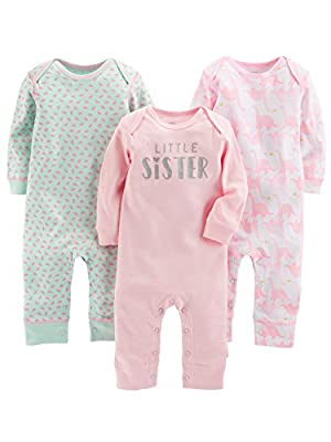 Simple Joys by Carter's Baby Girls' 3-Pack Jumpsuits, Pink, Mint, Dino, 6-9 Months
