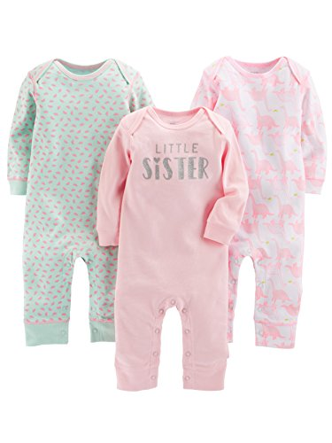 Simple Joys by Carter's Baby Girls' 3-Pack Jumpsuits, Pink, Mint, Dino, 3-6 Months