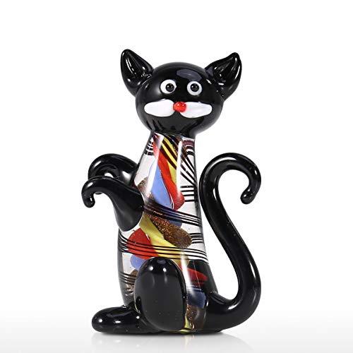 Tooarts Gatito Negro Mini Gato Lindo Estatuilla de Cristal Estatua Animal Ornamento Hecho A Mano de Vidrio Soplado Gato Estatuilla Cumpleaños Decoración para el hogar